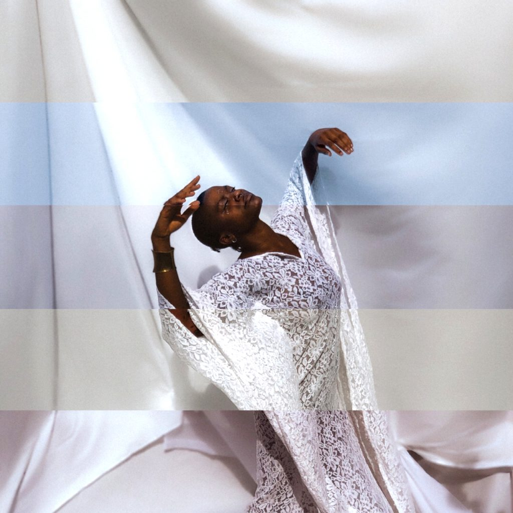 A striped and glitchy image of Tobi Adebajo, wearing white lace, against a white background.