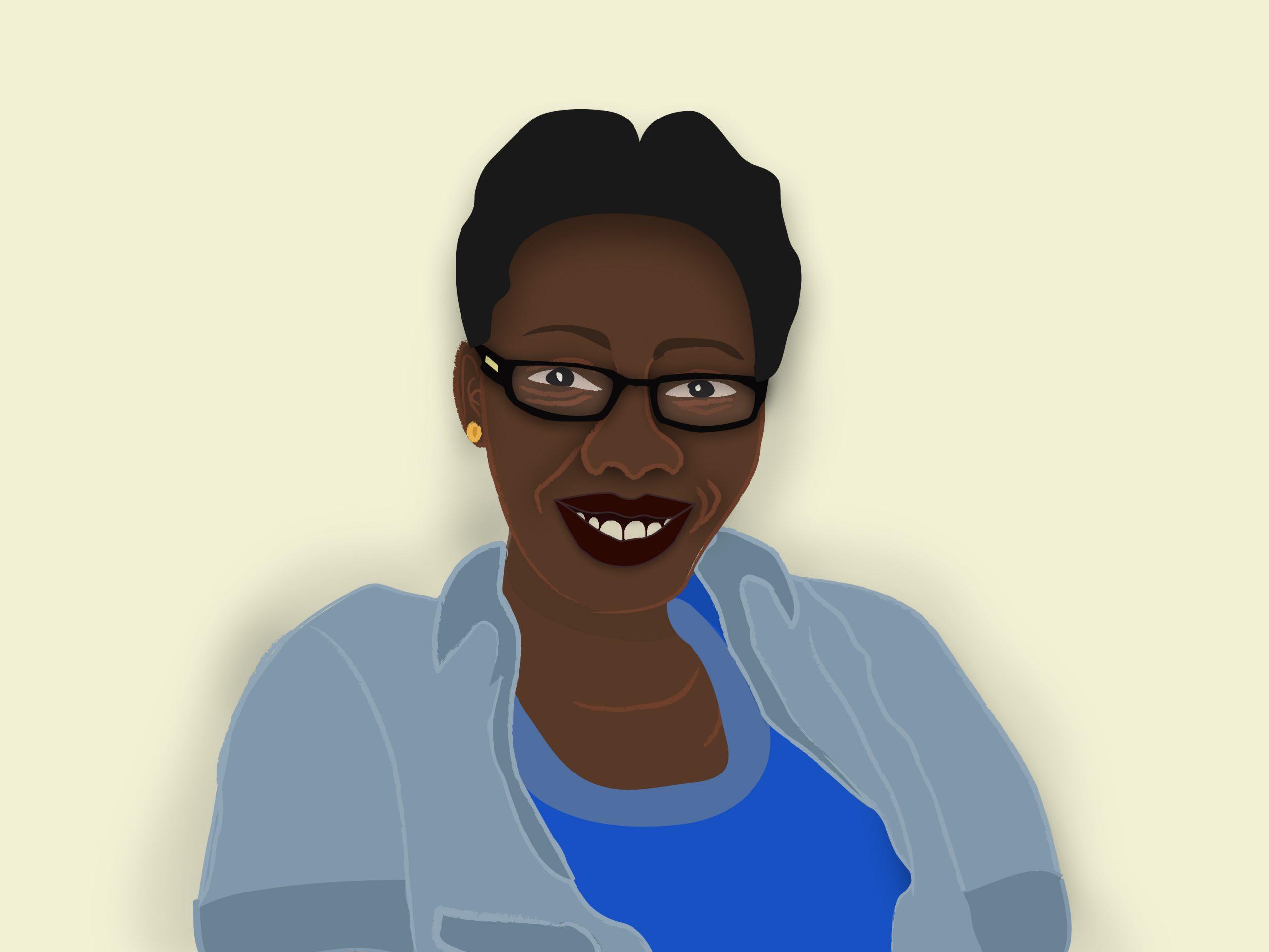 Self-portrait illustration of the artist Doreen Edemafaka