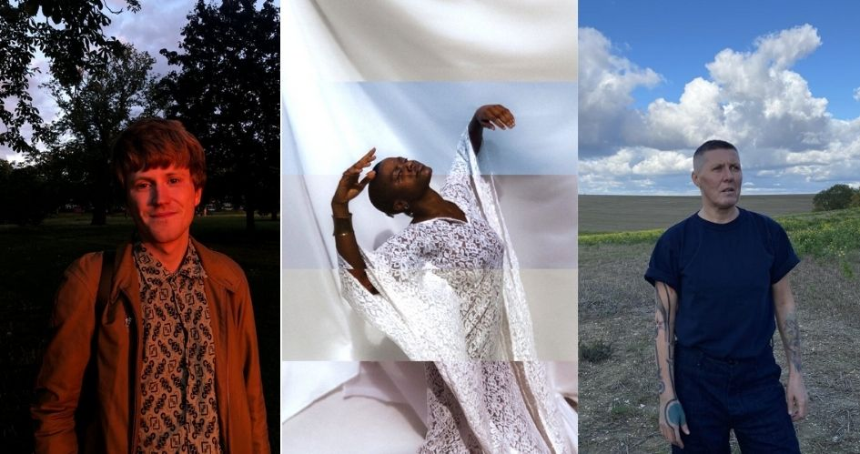 Three cropped portraits of the filmpro Online Commission artists, Calum, Tobi and Tink: Calum Perrin stands in front of a park drenched in golden sunlight. A striped and glitchy image of Tobi Adebajo, wearing white lace, against a white background. Tink Flaherty stands in a field, on a cloudy-sunny day.